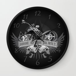 Hardcore. Old School. Deal With It. Classic Chopper and Skulls Wall Clock
