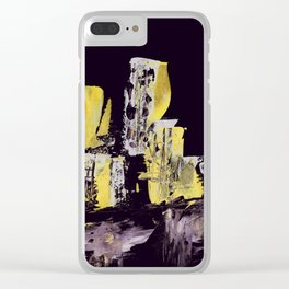 Yellow Purple Cityscape Clear iPhone Case