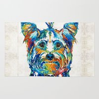 yorkie Area & Throw Rugs featuring Colorful Yorkie Dog Art - Yorkshire Terrier - By Sharon Cummings by Sharon Cummings