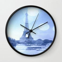 Paris Eiffel Tower Blue Wall Clock