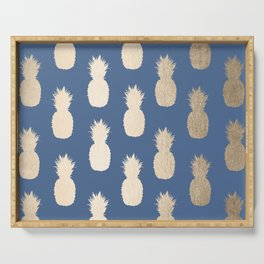 Gold Pineapples on Aegean Blue Serving Tray