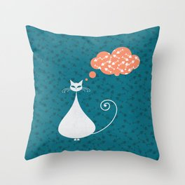Cat & fish III Throw Pillow