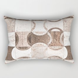 Retro Wood Blocks // Desaturated Grain Detail Circle and Square Pattern Rectangular Pillow