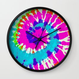 Batik Flower Power Spiral grunge Wall Clock