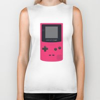 gameboy Biker Tanks featuring GAMEBOY Color - Pink Version by Cedric S Touati
