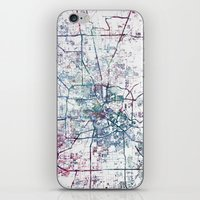 houston iPhone & iPod Skins featuring Houston map by MapMapMaps.Watercolors