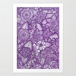 Purple Zentangle Art Print