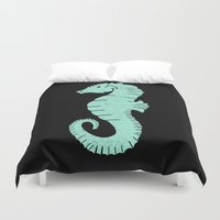 sea horse Duvet Covers featuring SEA HORSE by Matthew Taylor Wilson