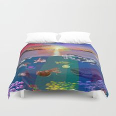 ...and the monstrous creatures of whales [full] Duvet Cover