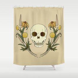 Fall Floral Skull Shower Curtain