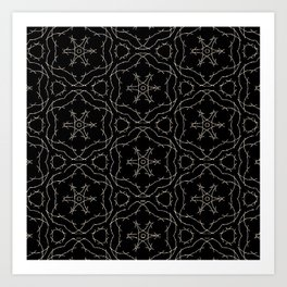 Antique Black and Gold Pattern Design Art Print