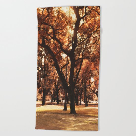 Through The Trees Beach Towel