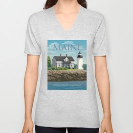 Prospect Harbor Lighthouse Unisex V-Neck