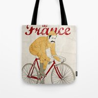 tour de france Tote Bags featuring tour de france by cikuta