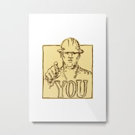 Construction Worker Pointing You Etching Metal Print