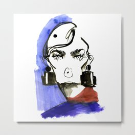 Lady Lashes fashion sketch Metal Print