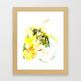 Honey Bee and Yellow Abstrac floral decor Framed Art Print