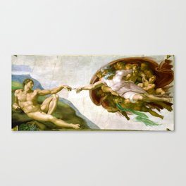 The Creation of Adam Painting by Michelangelo Sistine Chapel Canvas Print