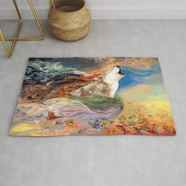 The spirit Wolf Abstract Rug