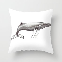 Humpback whale black and white ink ocean decor Throw Pillow