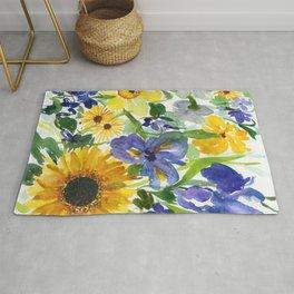 daffodil, iris and sunflower Rug