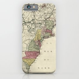 Colonial America Map by Matthaus Lotter (1776) iPhone Case