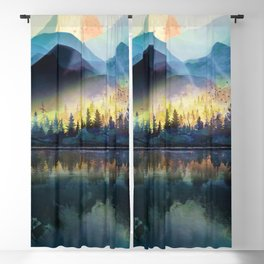 Mountain Lake Under Sunrise Blackout Curtain