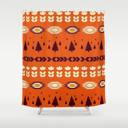 Holiday pattern with Christmas trees Shower Curtain