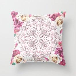 Rose Gold Mandala Garden on Marble Throw Pillow