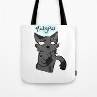 platypus Tote Bags featuring Platypus by MMAD_and_Icepetal