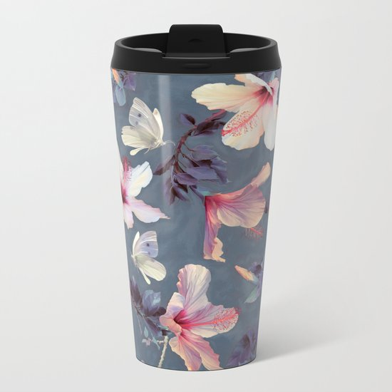 Butterflies and Hibiscus Flowers - a painted pattern Metal Travel Mug
