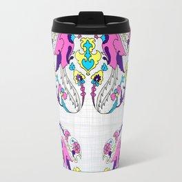 pink bird and yellow floral design Travel Mug