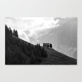 Lonely Lodge (Black & White), Switzerland Canvas Print