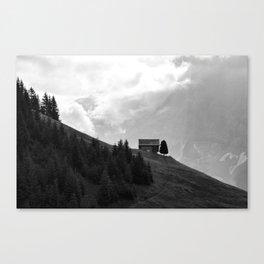 Lonely Lodge (Black & White), Switzerland Canvas Print