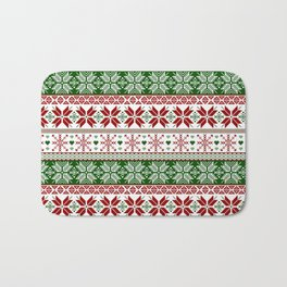 Green & Red Winter Fair Isle Bath Mat