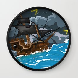 Pirate Ship in Stormy Ocean Wall Clock