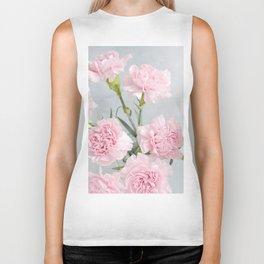 Elegant modern blush pink green carnations floral Biker Tank