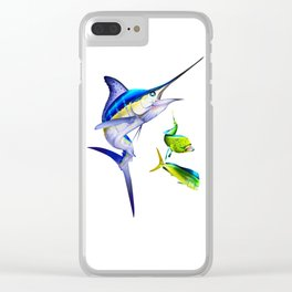 White Marlin Chasing Dolphin Fish Clear iPhone Case