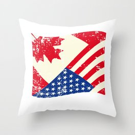 Canadian American Flag Canada America Vintage Gift Throw Pillow