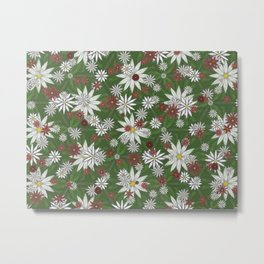 White and Red Flower Pattern on Green Background Metal Print