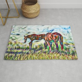 Abstract horses in paddock Rug