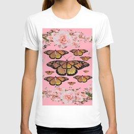 BLACK MONARCH STYLE BUTTERFLIES CORAL ROSE GARDEN T-shirt