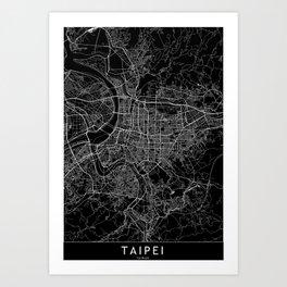 Taipei Black Map Art Print