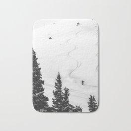 Backcountry Skier // Fresh Powder Snow Mountain Ski Landscape Black and White Photography Vibes Bath Mat