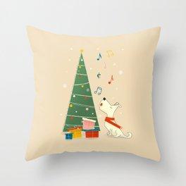 Festive Dog and a Christmas Tree Throw Pillow