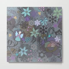 Colorful grey xmas pattern Metal Print