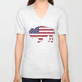American flag - Bison Unisex V-Neck
