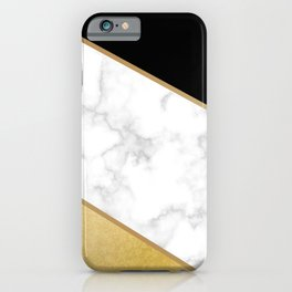Elegant Black and Faux Gold Abstract Design iPhone Case