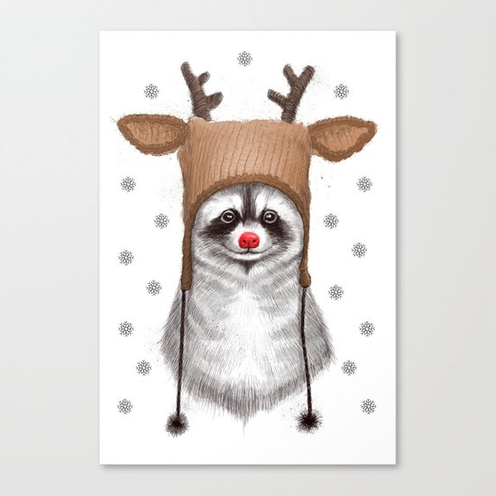 raccoon in deer hat Canvas Print