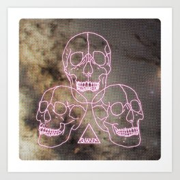 three skulls, a triangle and some stars Art Print